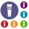 Sunscreen icons set