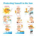 Sunscreen the old man protect himself from the sun with illustration Royalty Free Stock Photos