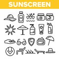 Sunscreen, UV Defence Vector Thin Line Icons Set