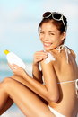 Sunscreen woman Stock Photos
