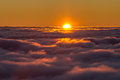 Sunset above the clouds Royalty Free Stock Photo