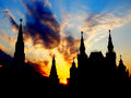 Sunset above Moscow Kremlin Stock Photo