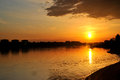 Sunset above the wloclawek photo of a river Royalty Free Stock Photography