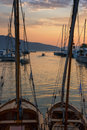 Sunset afterglow port in tivat city montenegro Stock Photo