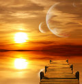 Sunset in alien planet Royalty Free Stock Photo