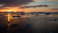 Sunset in antarctica on the way to antarctic circle Royalty Free Stock Image