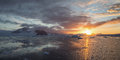 Sunset in antarctica on the way to antarctic circle Royalty Free Stock Photo