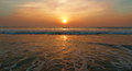 Sunset on the arabian sea goa india morjim beach Royalty Free Stock Photography