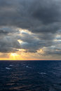 Sunset in the atlantic ocean scenic view of Royalty Free Stock Photography