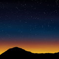 Sunset background countryside landscape with stars in night sky Stock Photography