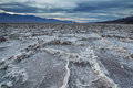 Sunset at the badwater basin salt pans of meters below sea level death valley usa Stock Image
