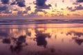Sunset on Baga beach. Goa Royalty Free Stock Photo