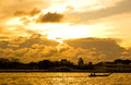 Sunset in Bangkok at River Stock Photography