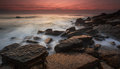 Sunset at Barrika beach Royalty Free Stock Photo