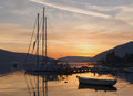 Sunset bay of kotor montenegro Stock Image