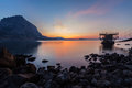 Sunset in the bay of novyi svet crimea ukraine Royalty Free Stock Images
