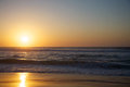 Sunset on the beach beautiful ocean Royalty Free Stock Photography