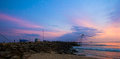 Sunset at beach with blue and magenta sky Royalty Free Stock Photo