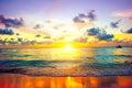 Sunset beach of Caribbean island Royalty Free Stock Photo