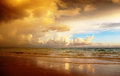 Sunset on the beach of caribbean sea Stock Photography