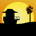 Sunset beach illustration an featuring a over the ocean with palm trees and a shack silhouetted room for text on bottom of Royalty Free Stock Image