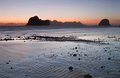 Sunset at the beach of the koh ngai island thailand silhouettes Royalty Free Stock Photography