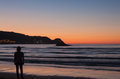 Sunset on the beach o noja cantabria spain Stock Photos