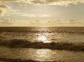Sunset at the beach in sepia tone Royalty Free Stock Photo