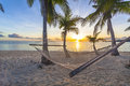 Sunset on beach tropical paradise at with hammock Royalty Free Stock Images