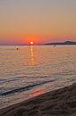 Sunset on beach at west coast of sithonia greece Stock Photos