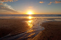 Sunset beautiful on the beach at carlsbad california Royalty Free Stock Photography