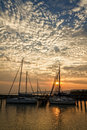 Sunset beautiful in the port of sailing Royalty Free Stock Photos