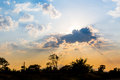 Sunset with beautiful sunlight and cloud, blue sky in the evening Royalty Free Stock Photo