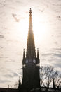 Sunset Behind Clock Tower Spire Silhouette Architecture Point Cl Royalty Free Stock Photo