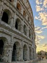 Sunset behind the Colosseum, Rome, Italy Royalty Free Stock Photo