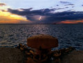 Sunset behind the mooring in piraeus port greece Stock Photography