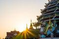 Sunset behind pagoda Royalty Free Stock Photo