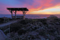 Sunset behind a public gazebo at Asilomar State Beach in Califor Royalty Free Stock Photo