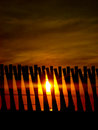 Sunset behind wooden fence security background at a beach project a sense of created the a beautiful pattern against the sunlight Royalty Free Stock Photo