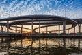 Sunset at Bhomipoon Bridge crosses the Chao Phraya River Royalty Free Stock Photo