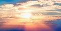 Sunset blue sky red sun Royalty Free Stock Photo