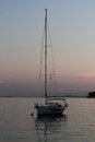 Sunset with boat croatia vis island Royalty Free Stock Photography