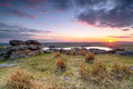 Sunset on bodmin moor over in cornwall from tregarrick tor above siblyback lake Stock Photos