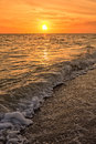 Sunset bowman beach sanibel island florida at the end of the day Stock Images