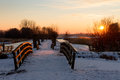 Sunset bridges in the snow Royalty Free Stock Image