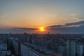 Sunset in Bucharest Royalty Free Stock Photo