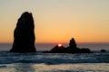 Sunset at Cannon Beach along Oregon coast Royalty Free Stock Photo