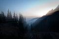 Sunset in the carpathians bucegi mountains Stock Photo