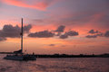 Sunset with catamaran and colorful florida Royalty Free Stock Photos