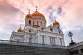 Sunset at Cathedral of Jesus Christ the Saviour, Moscow Royalty Free Stock Photo